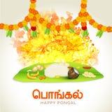 Παραδοσιακό γεύμα για τον ευτυχή εορτασμό Pongal διανυσματική απεικόνιση