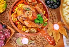 Παραδοσιακό γεύμα ημέρας των ευχαριστιών Στοκ εικόνα με δικαίωμα ελεύθερης χρήσης