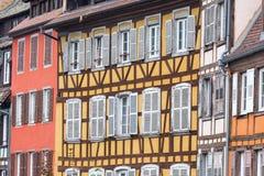 Παραδοσιακό εφοδιασμένο με ξύλα σπίτι στη λεπτοκαμωμένη Γαλλία, Στρασβούργο, Αλσατία Στοκ Φωτογραφία