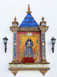 Παραδοσιακό ισπανικό κεραμίδι στον τοίχο μιας εκκλησίας Στοκ Φωτογραφία