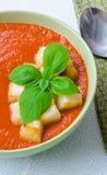Παραδοσιακό ισπανικό κρύο gazpacho σούπας ντοματών με το βασιλικό και croutons Στοκ εικόνα με δικαίωμα ελεύθερης χρήσης