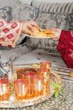 Παραδοσιακό μαροκινό τσάι Στοκ Φωτογραφίες