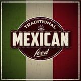 Παραδοσιακό μεξικάνικο έμβλημα τροφίμων grunge Στοκ εικόνες με δικαίωμα ελεύθερης χρήσης
