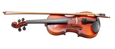 Παραδοσιακό ξύλινο βιολί με το γαλλικό τόξο Στοκ Εικόνες