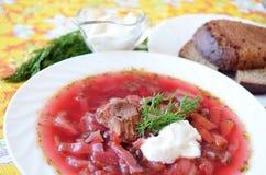 Παραδοσιακό ουκρανικό καυτό borsch σούπας Στοκ εικόνα με δικαίωμα ελεύθερης χρήσης