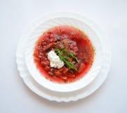 Παραδοσιακό ουκρανικό καυτό borsch σούπας Στοκ Εικόνα