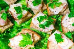 Παραδοσιακό πρόχειρο φαγητό για τους ρωσικούς και ουκρανικούς λαούς στις διακοπές Ένα σάντουιτς με το μπέϊκον, το σκόρδο και το μ Στοκ εικόνα με δικαίωμα ελεύθερης χρήσης