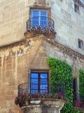 Παραδοσιακό στρογγυλό μπαλκόνι γωνιών, Poble Espanyol, Βαρκελώνη Στοκ εικόνες με δικαίωμα ελεύθερης χρήσης