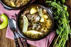 Παραδοσιακό της Χιλής λατινοαμερικάνικο ajiaco σούπας κρέατος που εξυπηρετείται στο πιάτο αργίλου Στοκ Εικόνα