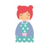 παραδοσιακό φόρεμα κουκλών κοριτσιών ιαπωνικό απεικόνιση αποθεμάτων