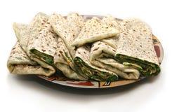 Παραδοσιακό ψωμί με τα πράσινα από Karabakh Στοκ Φωτογραφίες