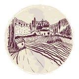 Παραδοσιακό tuskany σκίτσο τοπίων για την ετικέτα ή το υπόβαθρο Στοκ εικόνες με δικαίωμα ελεύθερης χρήσης