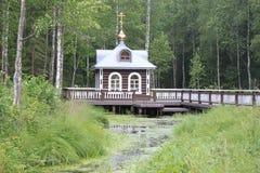 Παρεκκλησι στην αρχή του ποταμού του Βόλγα στοκ εικόνα
