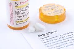Παρενέργειες Hydrocodone στοκ φωτογραφία με δικαίωμα ελεύθερης χρήσης