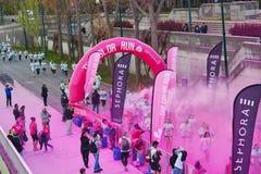 ΠΑΡΙΣΙ, ΓΑΛΛΙΑ - 17 ΑΠΡΙΛΊΟΥ: Τα πλήθη των ανθρώπων στο χρώμα τρέχουν στις 17 Απριλίου 2016 στο Παρίσι, Γαλλία Το τρέξιμο χρώματο Στοκ εικόνες με δικαίωμα ελεύθερης χρήσης