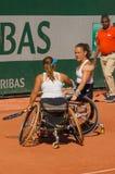 ΠΑΡΙΣΙ, ΓΑΛΛΙΑ - 10 ΙΟΥΝΊΟΥ 2017: Ρόδα διπλασίων γυναικών του Roland Garros Στοκ εικόνες με δικαίωμα ελεύθερης χρήσης