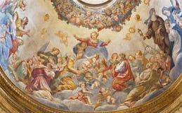 ΠΑΡΜΑ, ΙΤΑΛΙΑ - 15 ΑΠΡΙΛΊΟΥ 2018: Η νωπογραφία Assmption της Virgin Mary στο δευτερεύοντα θόλο της εκκλησίας Chiesa Di Santa Cris στοκ φωτογραφία με δικαίωμα ελεύθερης χρήσης