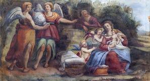 ΠΑΡΜΑ, ΙΤΑΛΙΑ - 16 ΑΠΡΙΛΊΟΥ 2018: Το freso της ιερής οικογένειας με τους αγγέλους στην εκκλησία Chiesa Di Santa Croce στοκ φωτογραφία με δικαίωμα ελεύθερης χρήσης