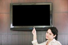 Παρουσίαση επιχειρηματιών με τη TV LCD Στοκ Εικόνες