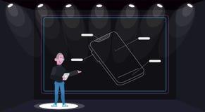 Παρουσίαση της νέας κινητής συσκευής τηλεφωνικών συσκευών απεικόνιση αποθεμάτων