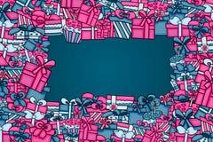 Παρουσιάζει και δώρων σχέδιο υποβάθρου κινούμενων σχεδίων κιβωτίων doodle απεικόνιση αποθεμάτων
