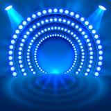 Παρουσιάστε στην ελαφριά εξέδρα μπλε υπόβαθρο ελεύθερη απεικόνιση δικαιώματος