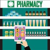 Παρουσιάστε στη λεπτομέρεια την ιατρική στην οθόνη ένα smartphone Σύγχρονο εσωτερικό φαρμακείο ή φαρμακείο Βιταμίνες μπουκαλιών κ Στοκ φωτογραφία με δικαίωμα ελεύθερης χρήσης