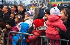 Παρουσιάστε στη πλατεία της πόλης κατά τη διάρκεια του εορτασμού του νέου έτους Στοκ Εικόνες