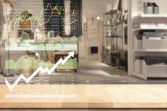 Παρουσιασμένος στοιχεία ρυθμός ανάπτυξης δεικτών αποθεμάτων οικονομικός στοκ εικόνες
