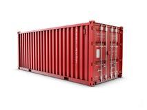 Παροχή υπηρεσιών, κόκκινο εμπορευματοκιβώτιο φορτίου τρισδιάστατη απόδοση Στοκ Εικόνες