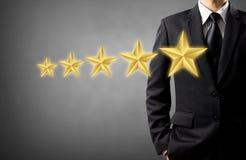 Παρούσα αξιολόγηση αστεριών επιχειρηματιών Στοκ Εικόνες