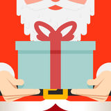 Παρούσα ζώνη γενειάδων δώρων χεριών λαβής Άγιου Βασίλη απεικόνιση αποθεμάτων