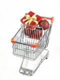 παρόντα Χριστούγεννα αγορών κάρρων Στοκ Εικόνα