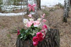 Παρόν γενεθλίων, ημέρα άνοιξη στο δάσος Στοκ εικόνα με δικαίωμα ελεύθερης χρήσης