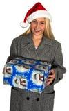 Παρόν γυναικών Santa Χριστουγέννων που απομονώνεται Στοκ εικόνα με δικαίωμα ελεύθερης χρήσης