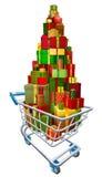 Παρόν κάρρο αγορών καροτσακιών δώρων Στοκ Εικόνα