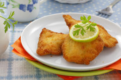 Πασπαλισμένα με ψίχουλα στήθη κοτόπουλου Στοκ Εικόνες