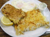 Πασπαλισμένο με ψίχουλα και τηγανισμένο ΠΡΟΓΕΥΜΑ Mahi Mahi ΚΑΙ με δύο αυγά Στοκ Εικόνα
