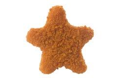 Πασπαλισμένο με ψίχουλα παιδιά αστέρι ψηγμάτων κοτόπουλου που διαμορφώνεται που απομονώνεται Στοκ φωτογραφίες με δικαίωμα ελεύθερης χρήσης