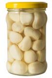 Παστωμένο σκόρδο σε ένα βάζο της άσπρης μαντζουράνας Στοκ εικόνες με δικαίωμα ελεύθερης χρήσης