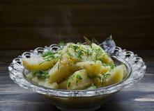 Πατάτα που μαγειρεύεται με τα λαχανικά και τα χορτάρια Νόστιμο και θρεπτικό μεσημεριανό γεύμα στοκ εικόνα