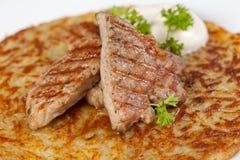 πατάτα τηγανιτών κρέατος Στοκ Εικόνα