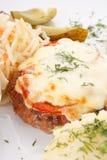 πατάτες πιάτων κρέατος Στοκ Φωτογραφία