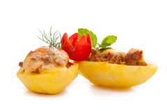 Πατάτες που γεμίζονται με κομματιασμένος Στοκ Φωτογραφία