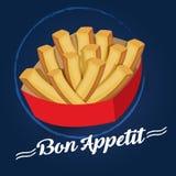 Πατάτες Bon appetit στο μπλε διανυσματική απεικόνιση