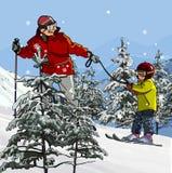 Πατέρας και γιος που κάνουν σκι στα βουνά Στοκ φωτογραφία με δικαίωμα ελεύθερης χρήσης