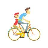 Πατέρας και γιος στο ποδήλατο Στοκ Εικόνα