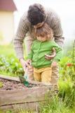 Πατέρας και κόρη που εργάζονται μαζί στον κήπο Στοκ Φωτογραφία