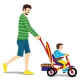 Πατέρας και παιδί σε ένα τρίκυκλο ελεύθερη απεικόνιση δικαιώματος