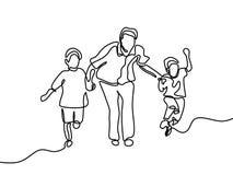 Πατέρας και τα παιδιά του συνεχές σχέδιο γραμμών διανυσματική απεικόνιση
